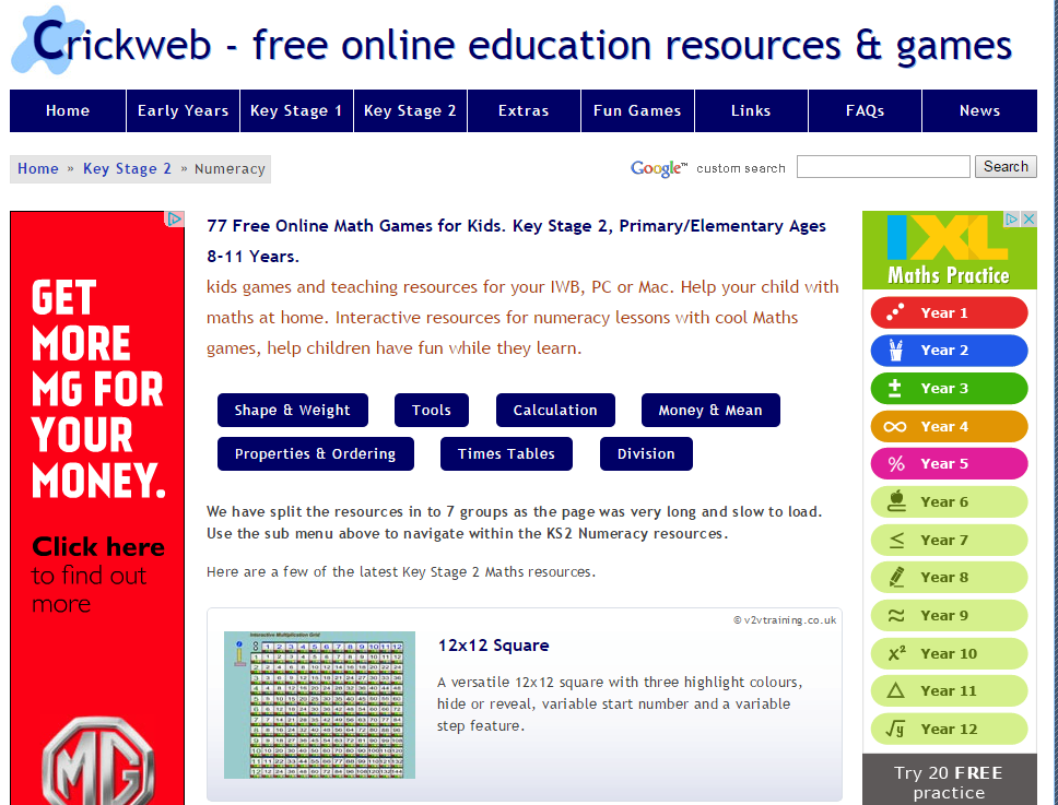 Days Lane Primary School - Maths Websites